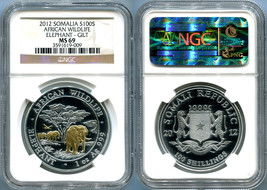 2012 SOMALIA 1 OZ. SILVER 100 SHILLINGS ELEPHANT GOLD GILT NGC MS69 - $136.49