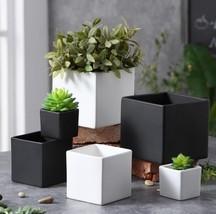 Ceramic Flower Pot Modern Square Glossy Simple Flower Pot Home Gardening... - €10,40 EUR