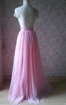 Pink Maxi High Split Tulle Skirt Pink Polka Dot One Side Split Tulle Tutu Skirt  image 4