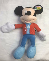 "Disney Mickey Mouse Plush Red Jacket Blue Snowflake Sparkly Shoes 21"" Wi... - $42.56"