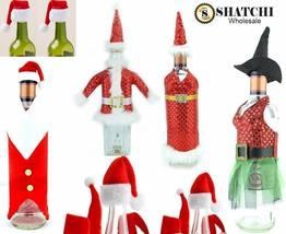 Christmas Santa Hat Wine Bottle Cover Topper Bags Xmas Dinner Party Tabl... - $2.30+