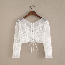 Wedding Long Sleeve Lace Crop Top Women White Floral Crop Lace Shirts Plus Size image 2