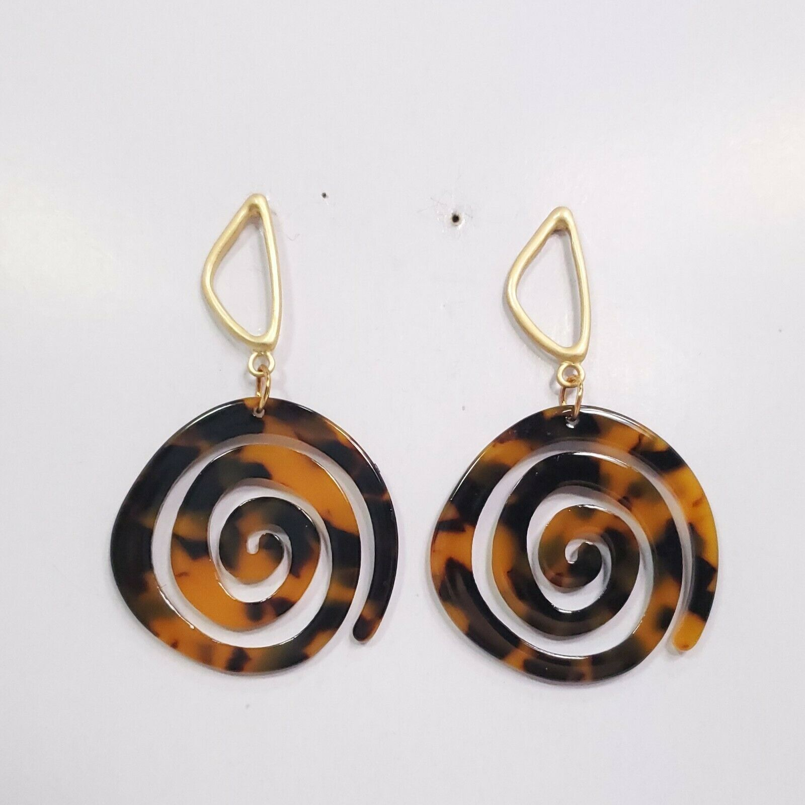 Primary image for E0270 Brown Tone Acrylic Circle Spiral Design Drop Dangle Fashion Post Earrings