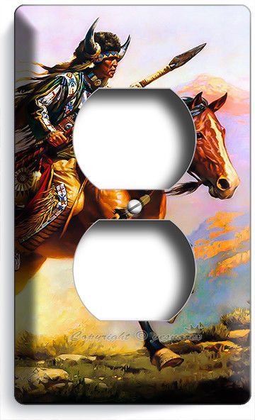 NATIVE AMERICAN INDIAN CHIEF WARRIOR ON HORSE OUTLET WALL PLATE ROOM HOME DECOR