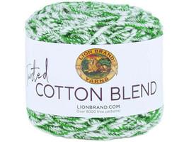 Lion Brand Twisted Cotton Blend Yarn in Grass/Ecru #45404
