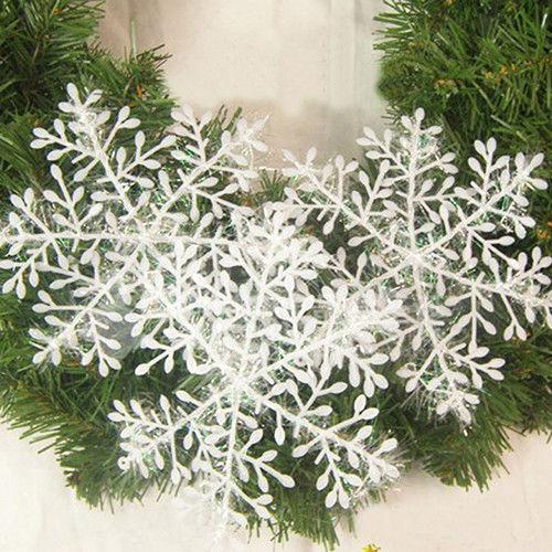 Christmas Snowflake 30pcs White Ornaments Xmas Tree Home Party Artificial Decor