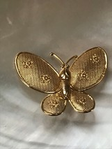 Estate Goldtone BUTTERFLY Moth with Mesh Wings & Flowers Lapel or Hat Pi... - $8.59