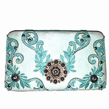 Texas West Rhinestone Concho Floral Embroidered Leather Clip Womens Wallets - $15.99