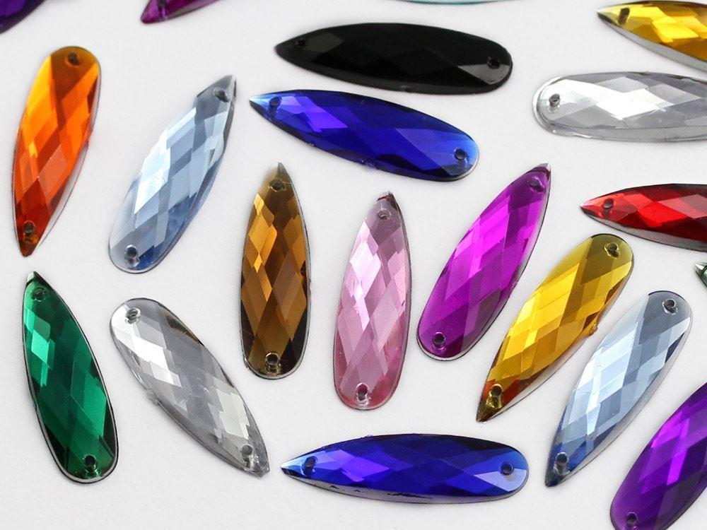 28x8mm Crystal Clear CH38 Teardrop Flat Back Sew On Gems For Craft 30 PCS
