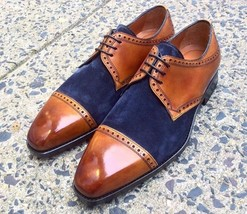 Handmade Men's Brown Leather & Blue Suede Dress/Formal Oxford Shoes image 1