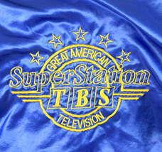 Vintage 80s Blue Satin Jacket TBS Super Station Windbreaker Retro Mens Size S image 11