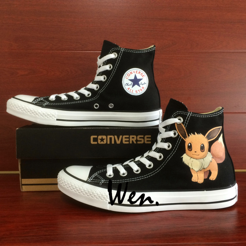 Fox Pokemon Eevee Design Converse All Star Hand Painted Sneakers Unisex Shoes