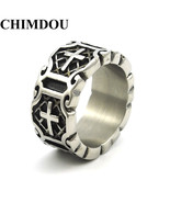 Classic Retro Christian Jesus Stainless Steel Cross Ring Believers Punk ... - $10.40