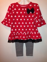 New girls size 3T black and red striped leggings set pants set - $9.99