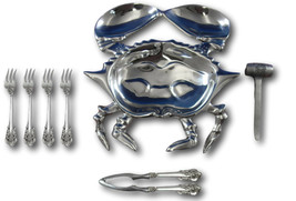 Grande Baroque Wallace Sterling Silver Crab Seafood Set w/Crab Dish and ... - $395.00