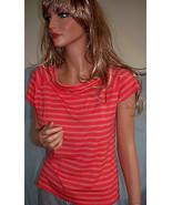 M Med Orange Stripe Print Norton McNaughton T-shirt Pullover Top Shirt T... - $9.99