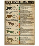 How To Survive An Animal Attack Poster-Knowledge Wall Decor Art Print Fo... - $25.59+