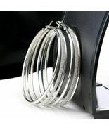 CHEAP BIG Hoop Earrings 3-Strand w/ Diamond Finish Center HOT BLING USA ... - $15.95