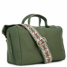 Women's Leather Satchel Handbag Purse with Embroidered Tribal Pattern Strap image 6