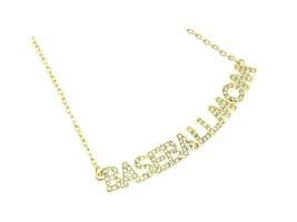 Crystal Stone Paved BASEBALLMOM Necklace - $13.95