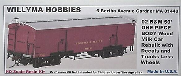 Willyma Hobbies HO B/&M Rebuilt  50/' Wood Milk Car ONE PIECE BODY kit 02