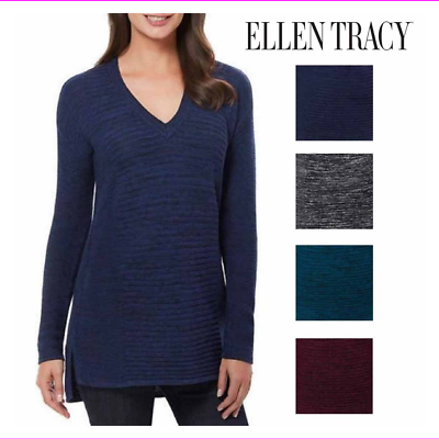 Primary image for Ellen Tracy Women's Stretch Fabric V-Neck Marled Knit Pullover Sweater
