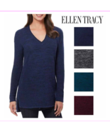 Ellen Tracy Women's Stretch Fabric V-Neck Marled Knit Pullover Sweater - $9.81