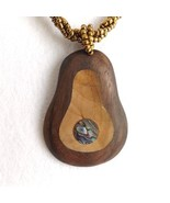 DARK WOOD AND ABALONE SHELL PEAR SHAPED SOLID PENDANT NECKLACE, GOLD COL... - $15.13