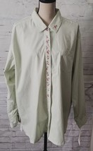 Monterey by Koret Womens Green & White Striped Cherry Embroidered Top XL... - $10.13