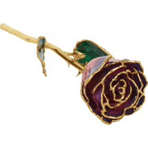 Lacquered Purple & Pink Rose with Gold Trim - $85.99