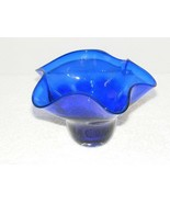 2001 SIGNED HAND BLOWN WAVE RUFFLE COBALT BLUE GLASS BOWL GUC - $54.99