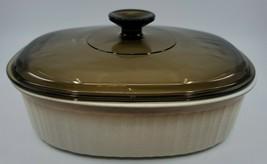 Corningware French Bisque F-2-B Oval Baking Casserole Dish Amber Lid 2.8... - $28.99