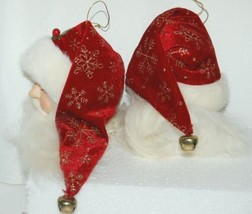Snowflake Santa Head Ornament H00801 Red Hat Gold Flakes 6 Inch 2 Piece Set image 2