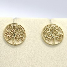 STUD EARRINGS YELLOW GOLD 750 18K, TREE OF LIFE, MADE IN ITALY image 1