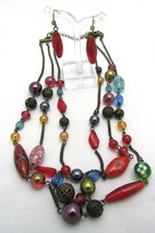 S101) 2007 Avon Multicolored Lampwork Glass Beaded Necklace Gift Set - $8.55