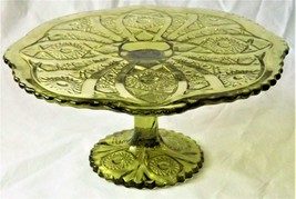1910 Imperial Glass-Ohio Green Glass Cake Stand/Tazza with I.G. Makers Mark - $149.99