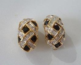 Vintage Carolee Rhinestone Earrings Black Clear Diamante Hoop Gold Clips - $19.78