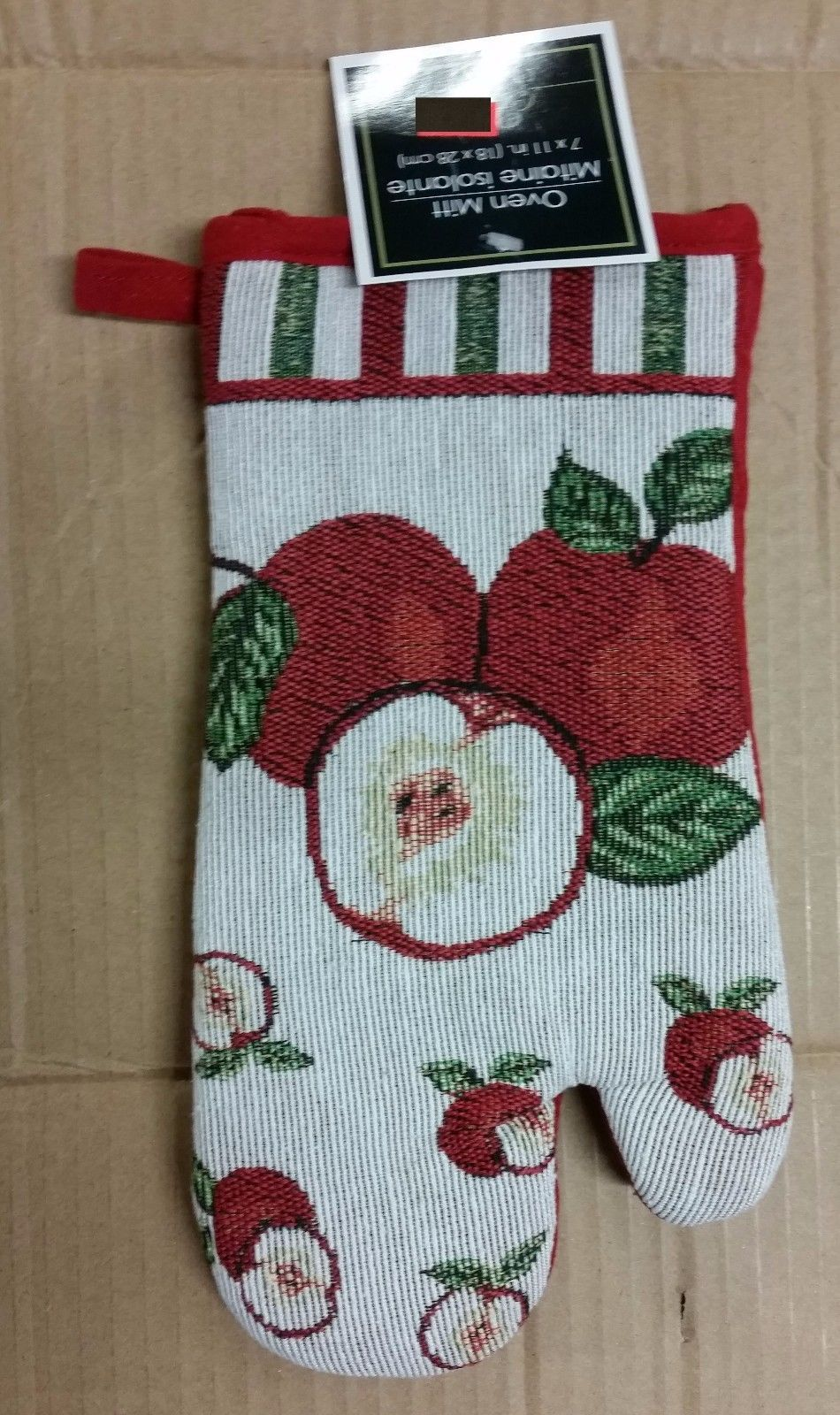 "Fabric Tapestry Kitchen 11""  Oven Mitt, APPLES"