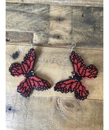 Amazing Red Butterflies Beaded Dangle Seed Bead Earrings New Gorgeous - £22.94 GBP