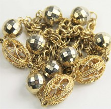 "30"" VINTAGE Jewelry GOLD METAL DISCO BALL BEAD & FILIGREE CAGE STATION N... - $15.00"