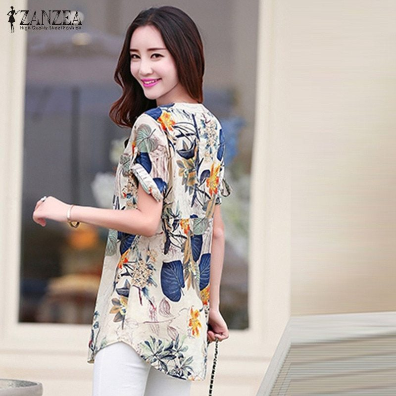 ZANZEA Women Summer Roll Up Short Sleeve Vintage Shirt Floral Print Blouse Tops