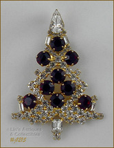 SIGNED EISENBERG ICE LARGE CANDLE TREE PIN CLEAR WITH RED RHINESTONES (#... - $175.00