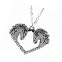 Vintage Horse Head Necklace Crystal Love Heart Handmade Statement Pendant - $22.99