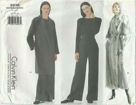 Vogue Sewing Pattern 2236 Calvin Klein Misses 12-14-16 Coat Belt & Pants... - $25.00