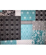 "Teal Black Grey Patchwork 42""W 15""L Window Curtain Valance Cotton  fabric - $9.89"