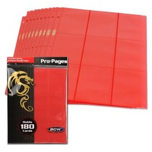 1 Case (200) BCW GAMING SIDE LOADING 18-POCKET PRO BINDER PAGES - RED - $66.45
