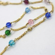 18K YELLOW GOLD NECKLACE EAR ALTERNATE WITH FACETED BLUE PINK PURPLE GREEN BALLS image 3