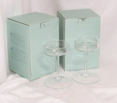 "TWO PartyLite Elegance Stemmed Pillar Holder Clear Glass 6"" P9377 - $6.88"