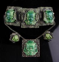 Egyptian Revival Parure / King Tut Bracelet / clip on earrings / Pharaoh brooch  - $425.00