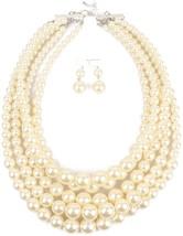 Shineland Elegant 5-laryered Multi-Strand Pearl Cluster Collar Bib Choker - $37.34